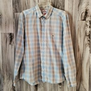 Lacoste Live Plaid Skinny Fit Button Front Shirt